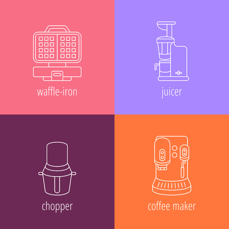 pictogramm: kitchen appliances, juicer, chopper, coffee maker, waffle-iron, flat thin vector icons Illustration