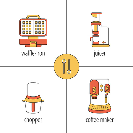 pictogramm: kitchen appliances, juicer, chopper, coffee maker, waffle-iron, thin vector icons Illustration