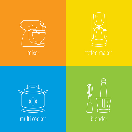 pictogramm: kitchen appliances, mixer, multi cooker, coffee maker, blender, flat thin vector icons
