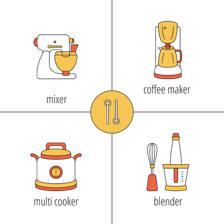 with coffee maker: kitchen appliances, mixer, multi cooker, coffee maker, blender, thin vector icons