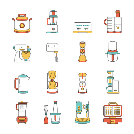 kitchen appliances, vector icon set Illustration