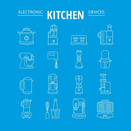 kitchen appliances: kitchen appliances, vector thin icon collection