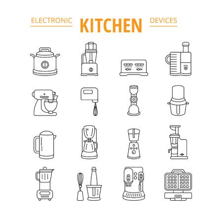 kitchen appliances: kitchen appliances, vector thin icon set Illustration
