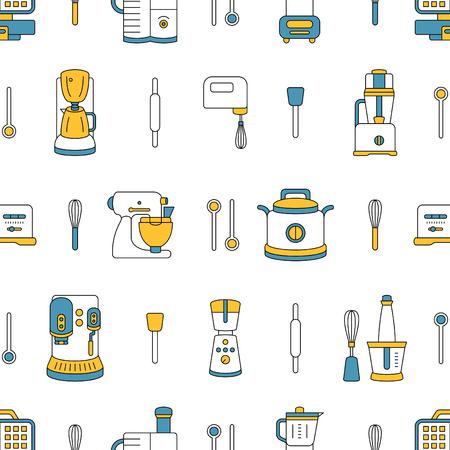 kitchen appliances: seamless pattern with kitchen appliances Illustration