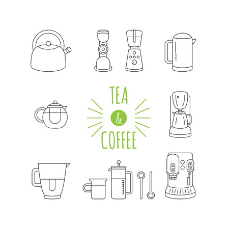 pictogramm: tea and coffee appliances, thin linear icons set