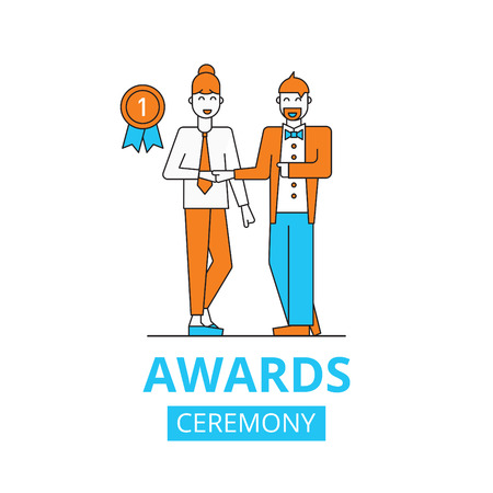 awards ceremony concept, vector flat illustration