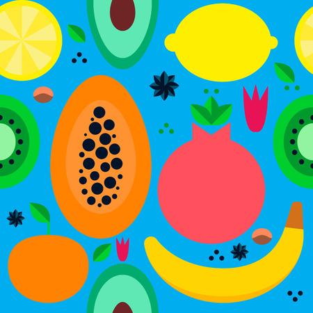 frutas tropicales: patrón de vectores sin fisuras con las frutas tropicales Vectores