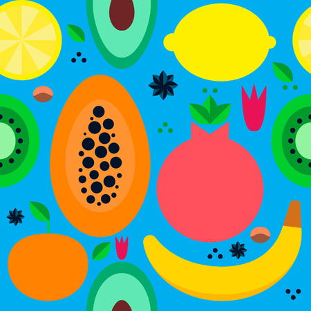 seamless vector pattern with tropical fruits