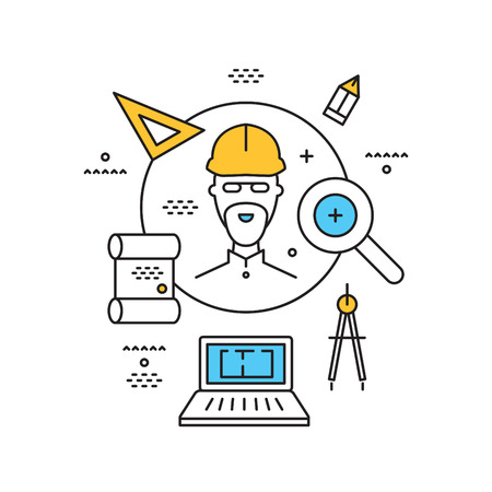 architector: concept for finding architectors, builders, engineers, vector thin linear flat illustration