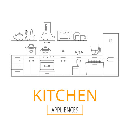 kintchen interior and kitchen appliances, vector thin linear illustration Illustration