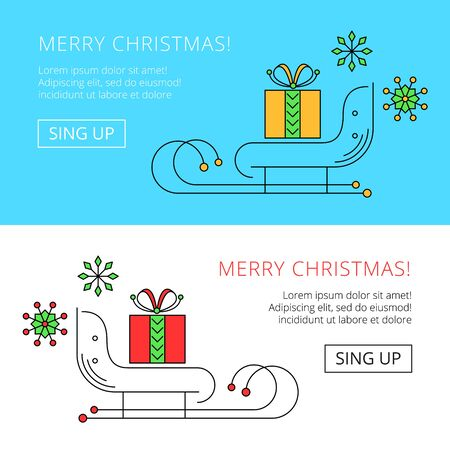 congratulatory: christmas web banner with sleighs and giftbox, vector congratulatory header