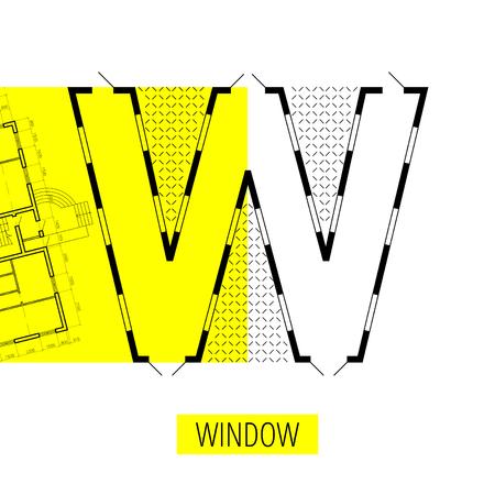 letter W, architectural plan, vector conceptual type