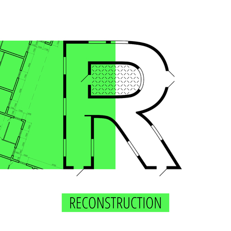 architectural plan: letter R, architectural plan, vector conceptual type