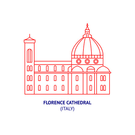 Florence Cathedral, Italy, Florence, thin vector icon Illustration