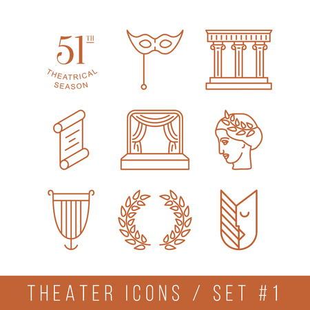 profil: theater icons, vector set with thin linear illustrations Illustration