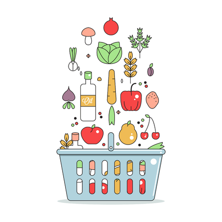 eating healthy: food basket with fruits and vegetables, vegan products, concept of healthy eating, flat vector illustration