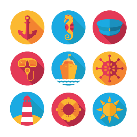 marine flat vector icons with anchor, steering wheel, captain hat, lifebuoy, ship, sea horse, lighthouse, scuba, sun
