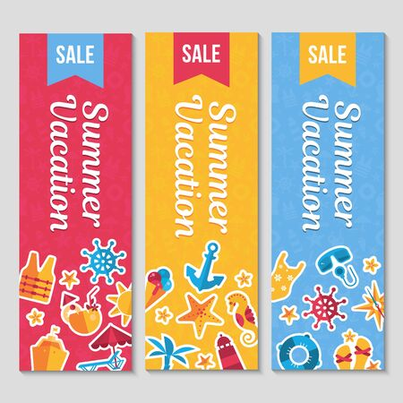 vertical banners set with flat sea icons and stickers, summer vacation vector illustrations