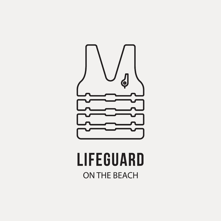 life vest with whistle, vector thin linear icon, lifeguard concept