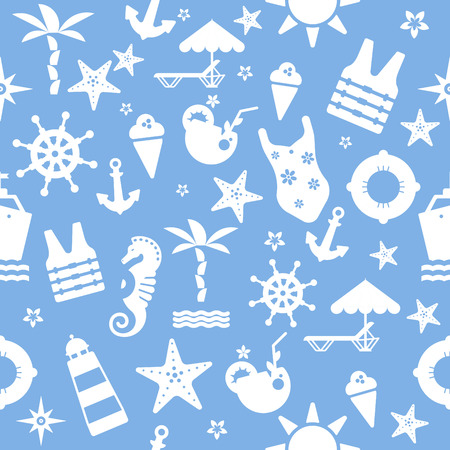 blue sea seamless pattern with graphic elements for branding design Illustration