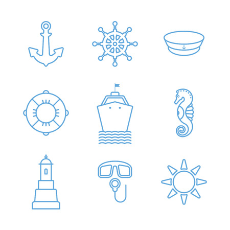 thin linear sea icons set with anchor, steering wheel, captain hat, lifebuoy, ship, sea horse, lighthouse, scuba, sun Illustration