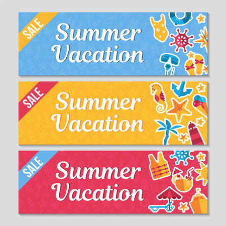 horizontal banners set with flat sea icons and stickers, summer vacation vector illustrations Illustration