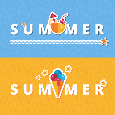 vector summer banners with flat icons, ice cream and coconut drink, can be used for cafe or bar Illustration