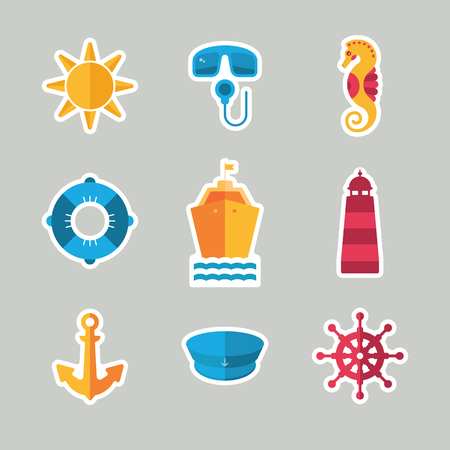 creative summer stickers with anchor, steering wheel, captain hat, lifebuoy, ship, sea horse, lighthouse, scuba, sun Illustration