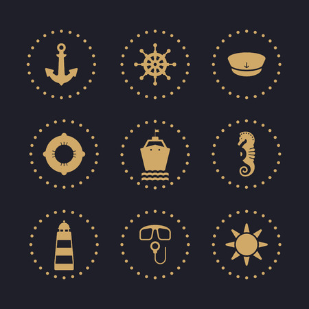 sea icons set with dark background, anchor, steering wheel, captain hat, lifebuoy, ship, sea horse, lighthouse, scuba, sun