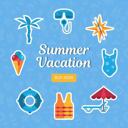 square banner with flat stickers, sea flat icons, scuba, compass, swimsuit, life vest, lounge,  lifebuoy, ice cream, palm, summer vacation vector illustration