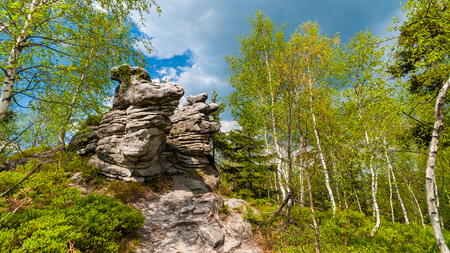 Rock formations in The Stolowe Mountains, Klodzka Valley, Sudetes, Poland