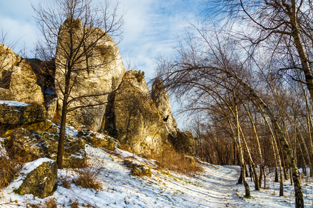 Hill of Ogrodzieniec castle in winter season. Poland Stock Photo