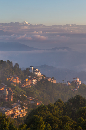 Sunrise in Nagarkot in the Kathmandu Valley. The edge of the valley from where is the best view of the Himalaya. Stock Photo