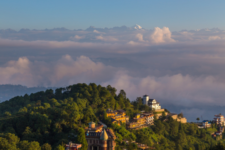 Sunrise in Nagarkot in the Kathmandu Valley. The edge of the valley from where is the best view of the Himalaya. Stok Fotoğraf