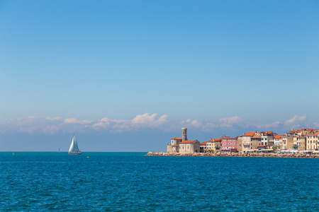Piran town in southwestern Slovenia on the Gulf of Piran on the Adriatic Sea.  Foto de archivo