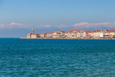 Piran stad in het zuidwesten van Slovenië aan de Golf van Piran aan de Adriatische Zee. Stockfoto