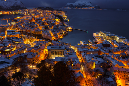 Panoramic view of the town of Alesund at sunset from Aksla hill. It is a sea port, and is noted for its concentration of Art Nouveau architecture.