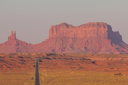 Forrest Gump Point at US Highway 163 toward Monument Valley Navajo Tribal Park. Brighams Tomb in the background. Utah, USA