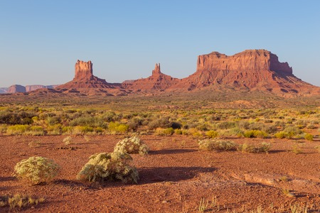 View on red rock formation. Navajo Tribal Park of Monument Valley, Arizona, Utah, USA Stock Photo