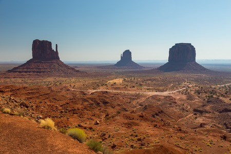 View on Merrick Butte,East and West Mitten Butte. Navajo Tribal Park of Monument Valley, Arizona, Utah, USA