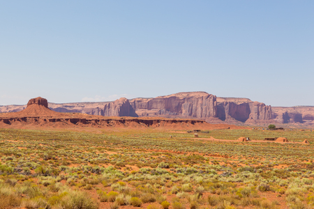 View on red rock formation. Navajo Tribal Park of Monument Valley, Arizona, Utah, USA 写真素材