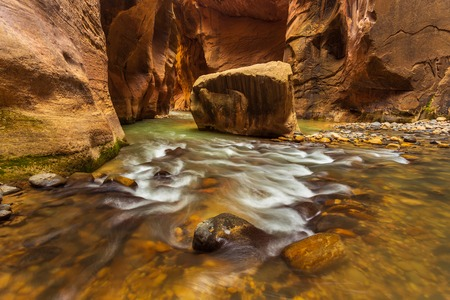 Rocks in the Virgin River Narrows in Zion National Park. The most popular and scenery trail in Zion. Utah, USA