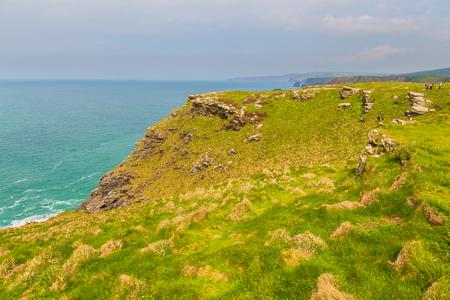 A view of rocks at Tintagel, Atlantic coast of Cornwall, Cornwall, UK