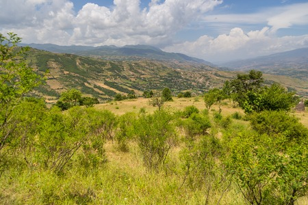 Scenic landscape view in Albanian mountain. South Europe.