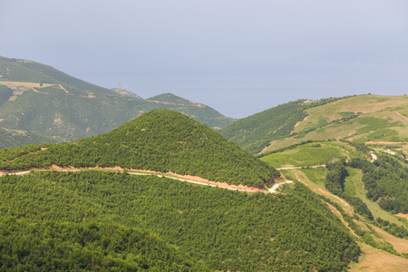 Gravel road in the Albanian mountains nearby Ohrid Lake.