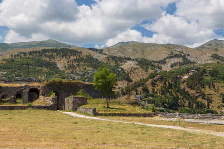 Gjirokaster Albania- 28 June 2014: Gjirokaster castle, UNESCO World Heritage site in south of Albania.
