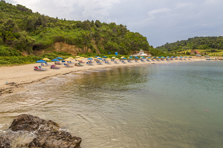 View of the beach on Rodonit peninsula. Rodonite is located in the middle Adriatic, Albania.