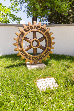 Tirana, Albania-01 July 2014: Rotary Club Monument in the center Tirana. International service organization.