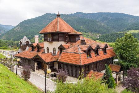 Mokra Gora, Serbia- 15 August 2015: Railway station on Mokra Gora in the Tara mountains. The historic narrow-gauge railway.