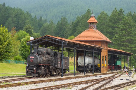 Sargan Vitasi, Serbia - 15 August 2014: Old steam trains in Sargan Vitasi station. From here start the so called Sargan Eight narrow-gauge heritage railway to Mokra Gora. Stock Photo - 115971259